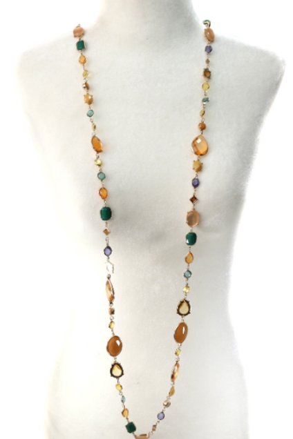 Multiple Beaded Long Necklace