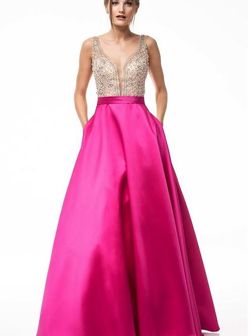 Mokado V=Neck Sleeveless A-Line Gown