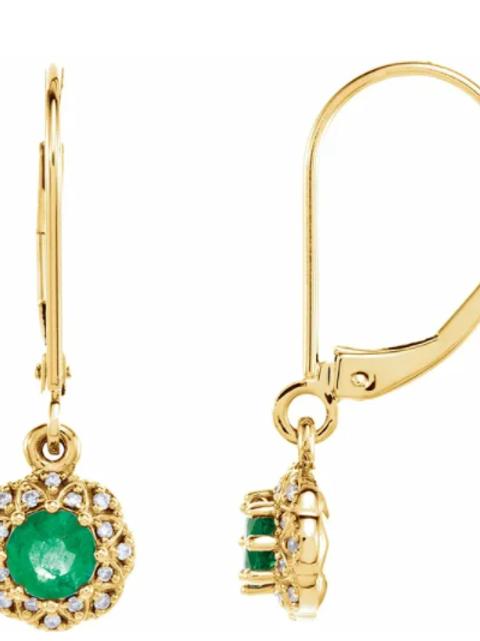 14K Yellow Emerald & .08 CTW Diamond Earrings
