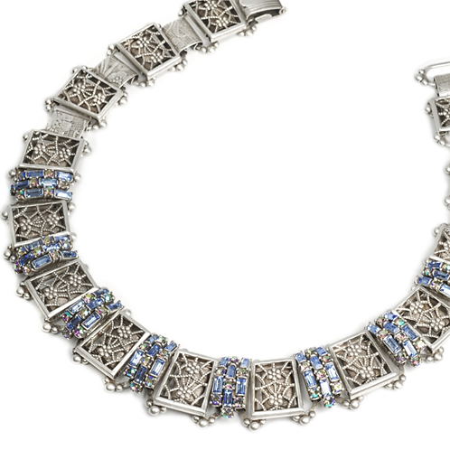 Art Deco Filigree Link Crystal Vintage Collar Necklace