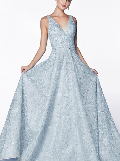 Floral Ball Gwn with V-neckline