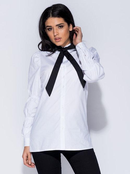 White Long Sleeve Pussybow Shirt