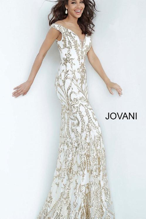 JOVANI Off the Shoulder Embellished Prom Dress 63349