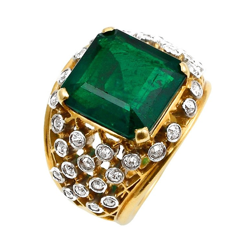 Certified Emerald Diamond Ring made with 14k Solid Gold.