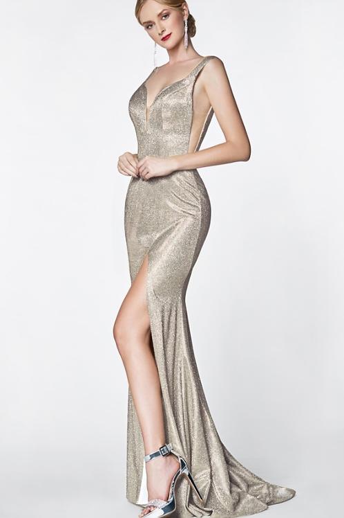 Cinderella Divine Fitted Metallic Glitter Gown
