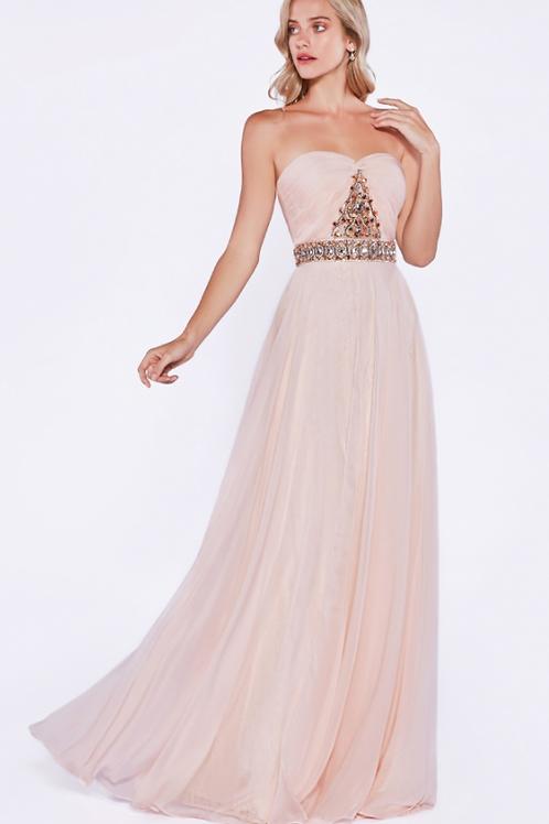 Chiffon Beaded Bodice Dress
