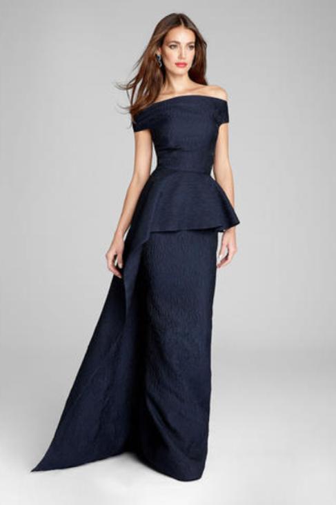 TERI JON Sleeveless Jacquard Side Drape Overlay Gown