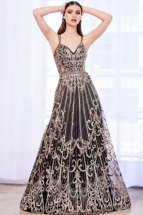 V-Neck A-Line Shape Evening Dress