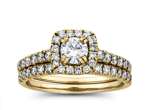 Mignon Manley 1 Carat Diamond Wedding Set in 14k Gold
