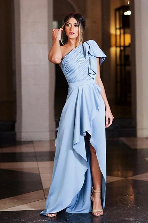 Alexandra Pullf Sleeve Perry Blue Dress