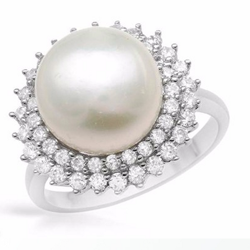Sterling Silver Freshwater Cultivated White PearlRing