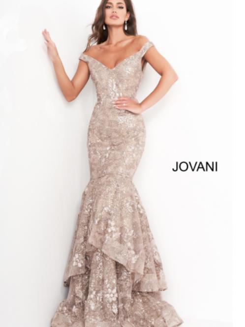 Jovani 03264 Taupe Off the Shoulder Mermaid Evening Dress