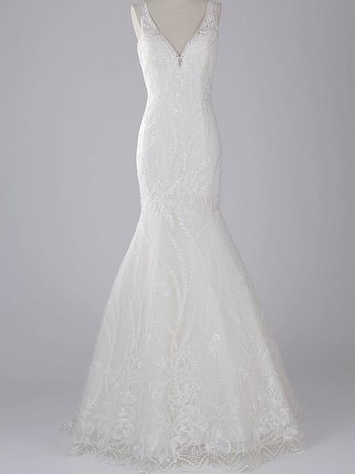 Mignon Manley Design Lace Organza Tulle Trumpet Bridal Gown