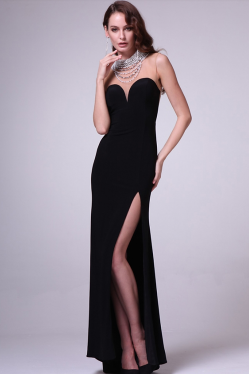 Sultry BlackChiffon Dress