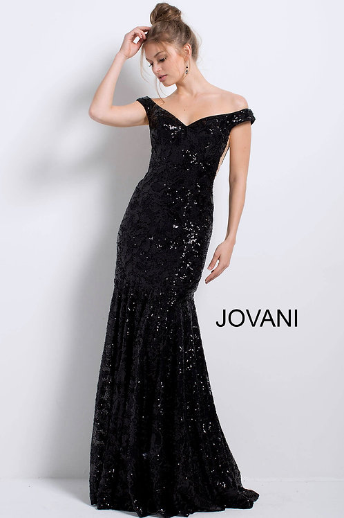 Black Fitted Off the Shoulder Evening Gown 57024