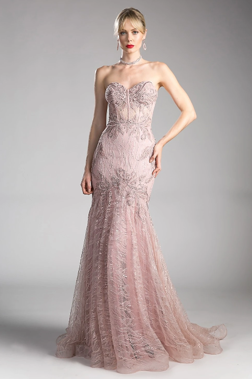 Strapless Mermaid Shape Lace Gown