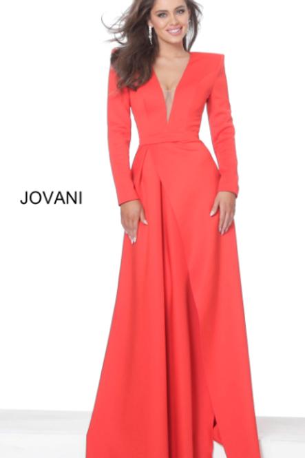 Jovani 03644 Tomato Scuba Long Sleeve Low V Evening Dress