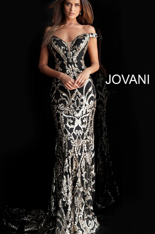 Black Gold Off the Shoulder Embellished Jovani Dress 63349