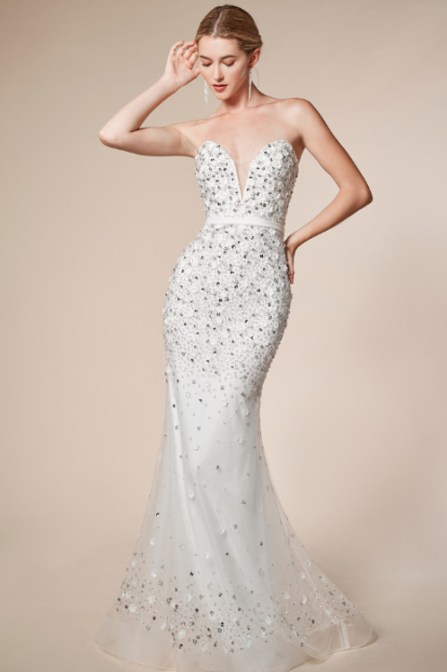 Strapless Plunging Beaded Mermaid Gown