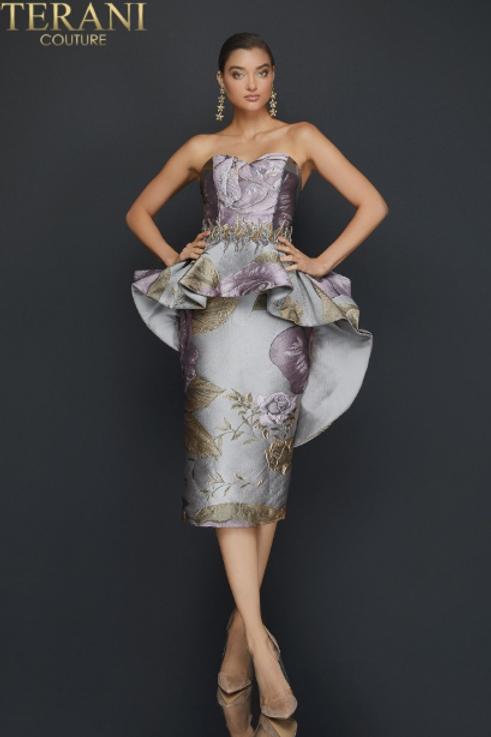 TERANI Satin Cocktail / Mother Of The Bride Dress