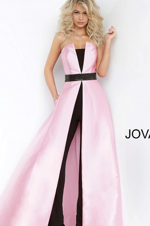Pink Black Strapless Long Overskirt Jovani Jumpsuit 1799