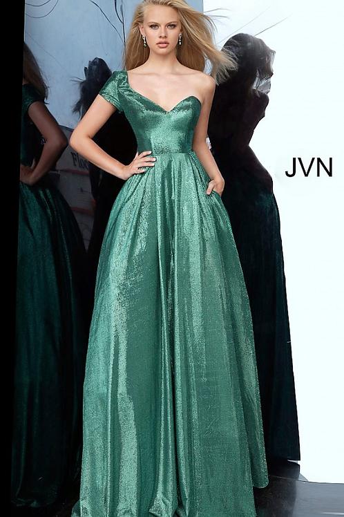 Jovani JVN Emerald One Shoulder Sweetheart Neckline Prom Ballgown