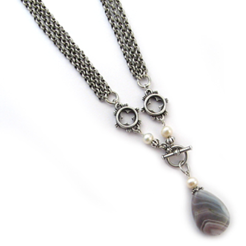 Gothic Triple Strand Necklace with Agate 20 inches