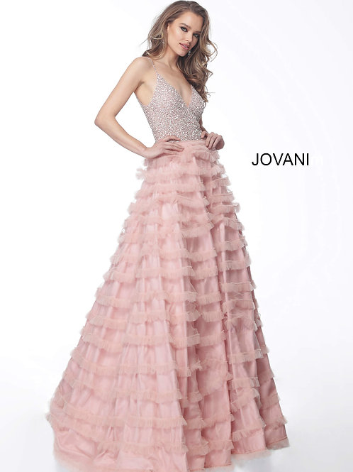 Blush Beaded Bodice A Line Evening Dress 61112