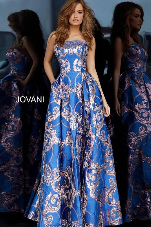 Print Strapless Prom Jovani Ballgown 3771