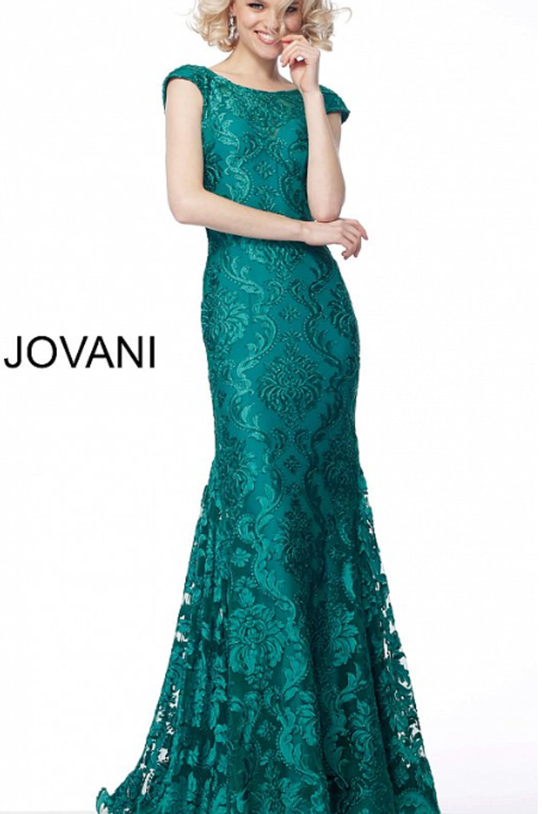 Jovani 68443 Emerald Cap Sleeves Lace Evening Dress