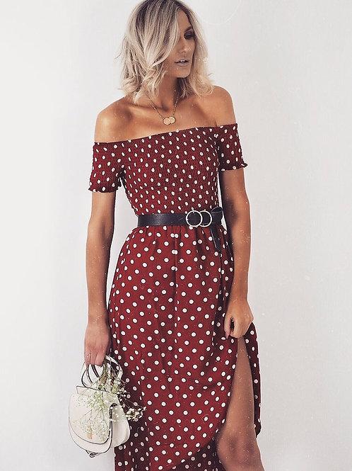 Polka Dot Bardot Wrap Front Long Maxi Dress