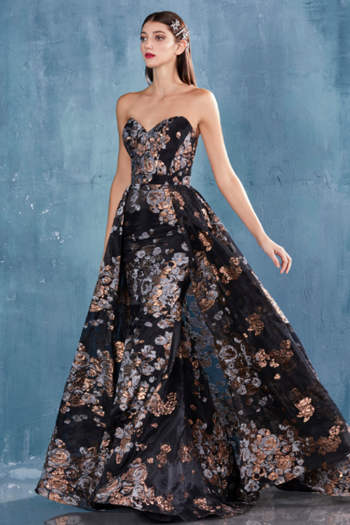 ANDREA & LEO EFFIE Strapless Sheath Metallic Print Gown With Overskirt