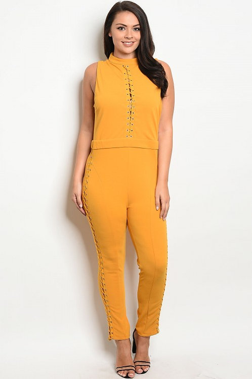Sleeveless fitted jumpsuit with a mock neckline and lace up