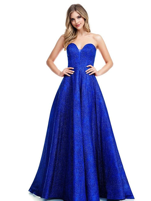 Glitter Strapless Sweetheart Neckline A-Line Gown w Pockets
