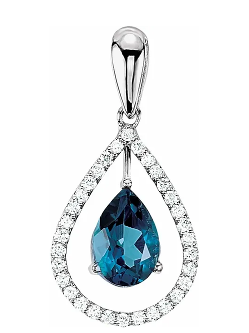 "London Blue Topaz & Diamond Pendant  14K White 1.5 mm Solid Cable 18"" Chain"