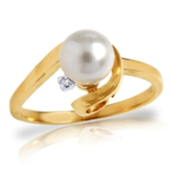 Classic, 1.01 CTW 14K Gold Ring with Natural Diamond and Pearl