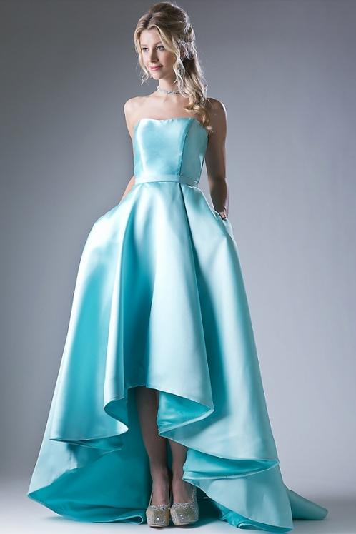 Cinderella Divine Strapless mikado high low dress.