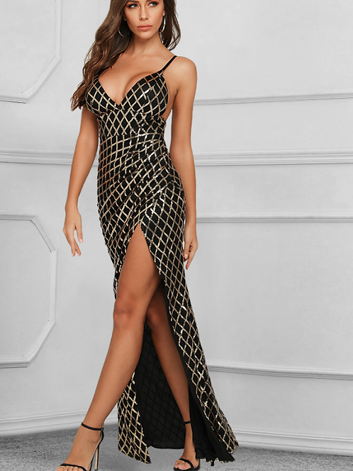 Stunning V-Neck Sequin Evening Gown