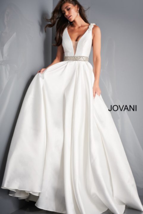 JOVANI JB2491 Ivory Plunging Neckline Wedding Gown