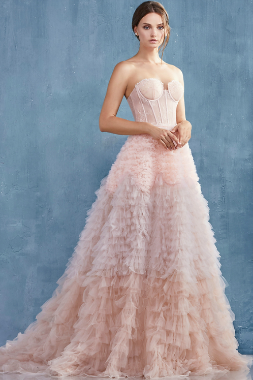 Andrea & Leo Evastrapless Faux Corset Ruffled Ombre Gown