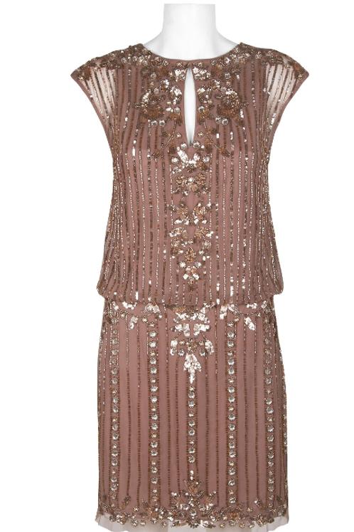 Aidan Mattox Crew NeckBlouson Embellished Mesh Dress