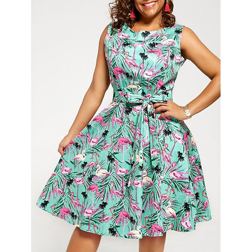 Plus Size Animal Print Pin Up Dress - Green 2xl