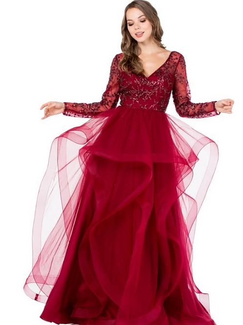V-Neck Long Sleeves A-Line Embroidered Sequin Gown