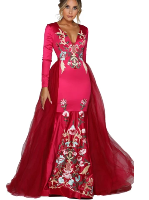 PS6823S Long Sleeve Fitted Dress W/ Overskirt