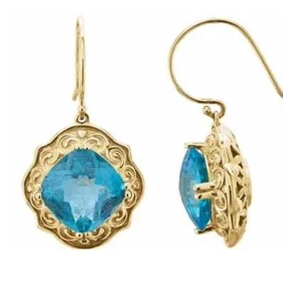 14K Yellow Swiss Blue Topaz Earrings