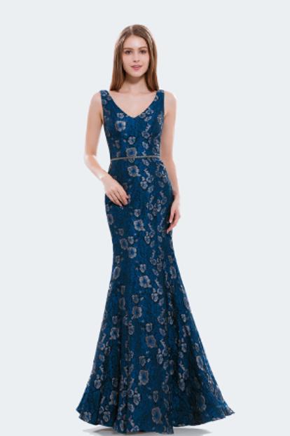 V Neck Lace Mermaid Dress