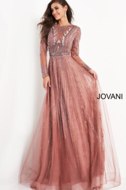 Jovani 04698 Old Rose Embellished Long Sleeve Evening Gown