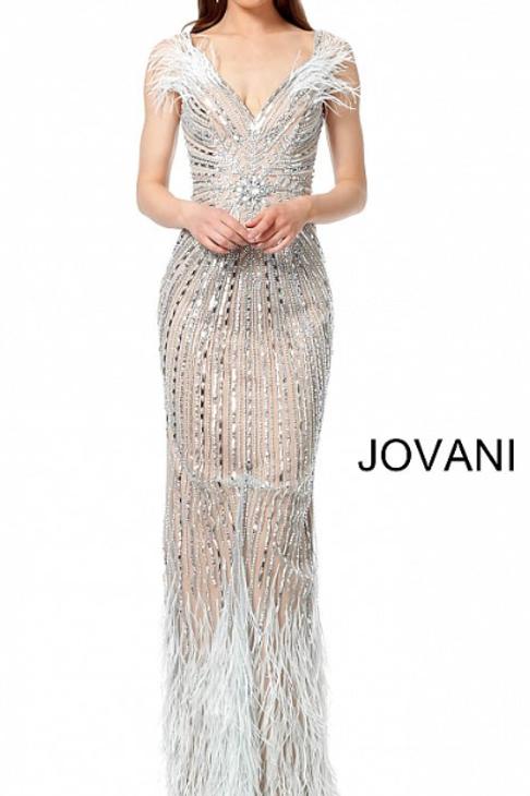 Jovani 66234 Light Blue Nude Off the Shoulder Embellished Evening Dress