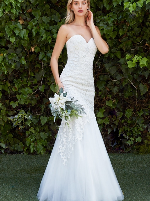 Strapless Fitted Mermaid Beaded LaceTulle Bridal Gown