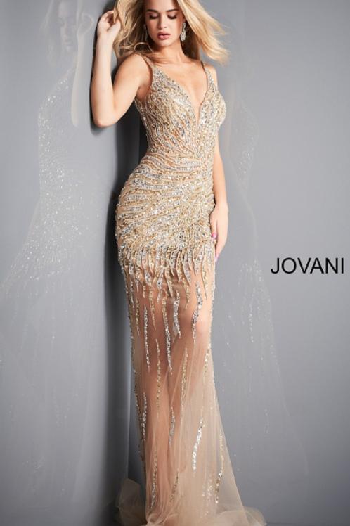 Jovani 02504 Gold Silver Embellished Plunging Neckline Prom Dress